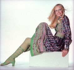 Gunilla Lindblad - Born: Vänersborg, Sweden  Vogue covers: 4  Gunilla Lindblad was sought after by designers from the Space Age pioneer André Courrèges to the more playful Kenzo Takada. She was once the face of Chloé and a favorite of Helmut Newton. Vogue often cast her as a haute hippie.