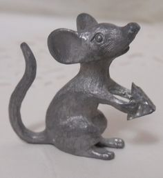 Pewter Mouse with Cheese  Pewter Figurines  Mouse by Beadgarden55