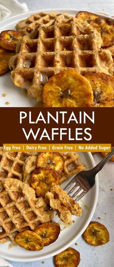 These sweet plantain waffles are egg free, grain free and made with ripe plantains. They're healthy miniature waffles, perfect for a healthy kid-friendly breakfast. In addition, these plantain waffles are Paleo, Vegan and free of top allergens. #plantainwaffles #paleo #vegan #eggfree Eggless Recipes, Waffle Recipes, Paleo Recipes, Healthy Breakfast Options, Breakfast Ideas, Paleo Vegan, Vegan Baking, Sugar Free Pancakes, Plantain Recipes