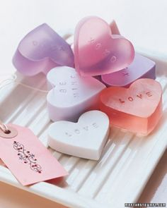 """See the """"Heart-Shaped Soap"""" in our Valentine's Day Crafts gallery Love that they look like the conversation hearts :)"""