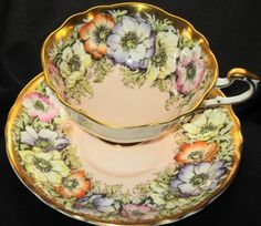 Paragon Yellow Orange Anemone Peach Pink Gold Wide Tea Cup and Saucer | eBay