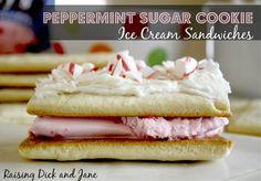 Sugar Cookie Peppermint Ice Cream Sandwiches