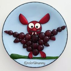 Grape bat by Ebru, foodart & children (@colorfulmummy)