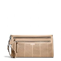 The Bleecker Large Clutch In Striped Perforated Leather from Coach