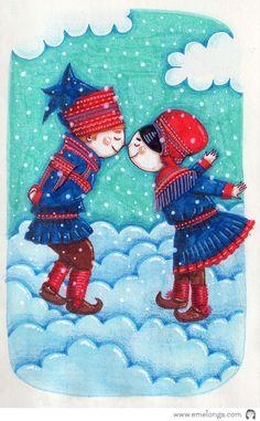 """Frozen noses"" #lapland #folk #illustration"