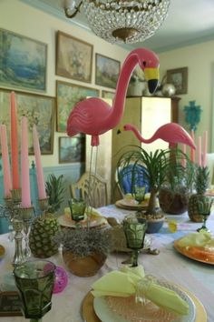 The Decorologist  70's green glasses; and flamingos! 7O3A7021 400x600 Palm Springs Dinner Party