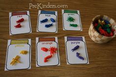 Pre-K & Preschool theme ideas for learning about bugs: insects and spiders Find more Bug Activities for Pre-K Books Check here for a complete list of Books about Bugs! Preschool Colors, Teaching Colors, Preschool Math, Math Classroom, Kindergarten Math, Teaching Math, Classroom Ideas, Preschool Printables, Creative Teaching