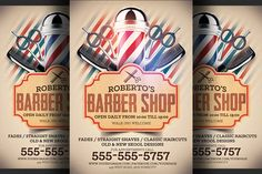 Barber Shop Flyer Template by Hotpin on Creative Market