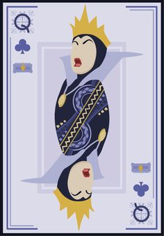 The Evil Queen of Clubs - - Four of a malicious kind. Artist Mario Graciotti designed these beautiful Disney villain playing cards, check out the rest of his work here. Disney And Dreamworks, Disney Pixar, Walt Disney, Disney Couples, Disney Love, Disney Magic, Reines Disney, Geeks, Collection Disney