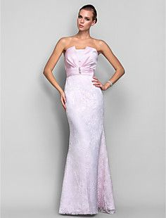 Trumpet/Mermaid Strapless Floor-length Lace And Satin Evenin... – USD $ 98.99