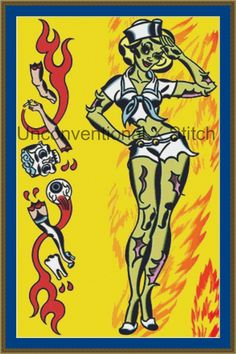 Eat Your Heart Out pinup zombie tattoo pop art cross stitch pattern - Licensed Mitch O'Connell retro art by UnconventionalX on Etsy
