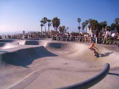 Venice Beach Skatepark - The 25 Best Skateparks in the World California Skateparks, Surf Cafe, Venice Beach Ca, Lake Elsinore, City Of Angels, Beautiful Sunrise, Longboarding, Skate Park, Santa Monica