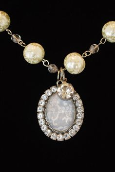 Crystal and Pearl Pendant Necklace by DebbieRenee on Etsy, $34.00