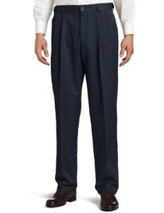 Haggar Men's Cool 18 Gabardine Classic Fit Pleat Front Pant, Heather Blue, 42x30 Haggar. $32.62