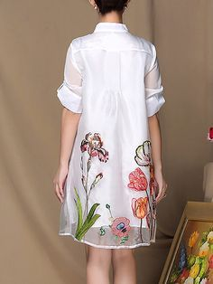 MULTIFLORA Half Sleeve Floral Swing Embroidered Casual Midi Dress