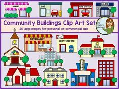Community Buildings Clip Art Set - 26 images for personal and commercial use Cinema Movie Theater, Cinema Movies, Community Places, Community Art, Preschool Crafts, Crafts For Kids, Cardboard Tree, Printable Maps, Printables