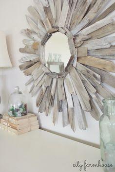 Beach House Decorating | DIY for your Beach House: Driftwood Mirror | http://nauticalcottageblog.com