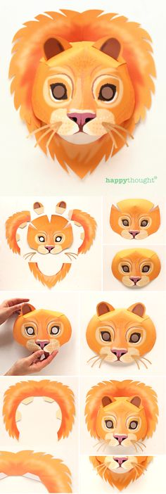 Make a DIY lion mask with Happythought's printable templates! Jungle masks paper mask templates https://happythought.co.uk/product/printable-wild-animal-masks