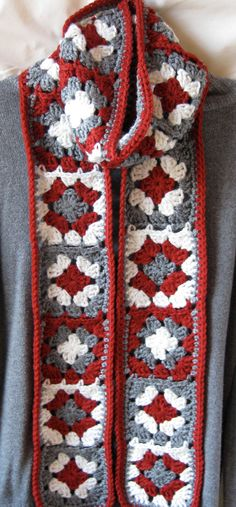 Crochet Granny Square Scarf in Scarlet and Gray by Hart2Hands, $25.00