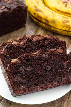 Chocolate banana bread is moist & tender with a delicious chocolate banana flavor and tons of chocolate chips.
