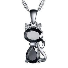 1.8 Carat Austrian Zircon Cat Crystal Necklace