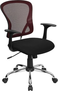 Flash Furniture Mid-Back Burgundy Mesh Office Chair w/ Black Fabric Seat and Chrome Finished Base