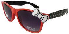 Sanrio Hello Kitty Polka Dot Style Designer Inspired Wayfarer Sunglasses - Red/Black with White Bow