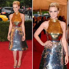 Carey Mulligan's modern but retro updo is also on our Best of list at MetGala Monday and how bout that Prada dress...stunning!!