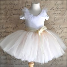 Ivory and pink girls tutu. Featured in Martha Stewart Wedding Magazine. Flower Girl, birthday, special occasion.