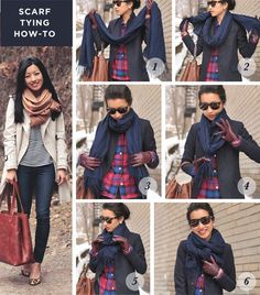Winter casual: PJ top and wool layers - long scarf tying Extra Petite, Ways To Wear A Scarf, How To Wear Scarves, Tie A Scarf, Fall Winter Outfits, Autumn Winter Fashion, Long Scarf, Fashion Beauty, Fashion Tips