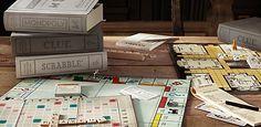 Vintage Bookshelf Library Games by Restoration Hardware