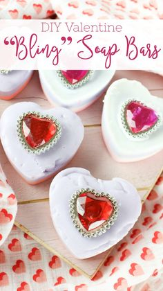 "I LOVE getting crafty and creative when it comes to gifts for friends an family, especially at valentines! These DIY Valentine ""Bling"" Soap Bars are ADORABLE, fun to make and are a cute giftable! Valentines Day Dinner, Valentine Day Love, Valentines For Kids, Valentine Day Crafts, Funny Valentine, Valentine's Day Printables, Gifts For Your Boyfriend, Valentine's Day Diy, Bling"