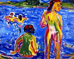 Bathers in a pond , Erich Heckel