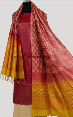 Exclusive handwoven, pure tussar silk kurta teamed with a beautiful hand block printed tussar silk dupatta and matching cotton salwar. Salwar Suits, Salwar Kameez, Kurti, Pattu Saree Blouse Designs, Night Suit, Dress Indian Style, Silk Dupatta, Silk Fabric, Indian Fashion