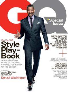 PHOTO: Actor Denzel Washington Graces the Cover of the October 2012 Issue of GQ Magazine. Denzel Washington, Gq Style, Gq Mens Style, Classic Style, Gq Magazine Covers, Magazine Stand, October Fashion, Afro, John David