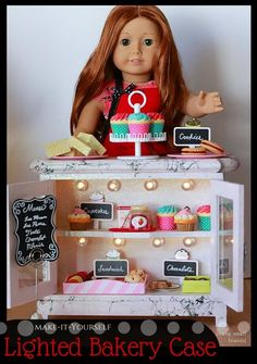 This is PERFECT for Grace! DIY American Girl Lighted Bakery Case - Make your own bakery for your 18 inch dolls. This lighted case is super easy and FUN to make. Perfect for Grace Thomas, American Girl of the Year 2015 American Girl Parties, My American Girl Doll, American Girl Crafts, American Girl Clothes, American Girl Bakery, American Girl Furniture, Girls Furniture, Doll Furniture, Ag Doll Crafts