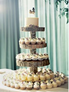 tree trunk cake stand; birds on top tier