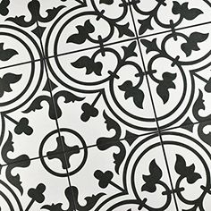 "SomerTile FCD10ARW Burlesque Porcelain Floor and Wall Tile, 9.75"" x 9.75"", Black/Grey/White - - Amazon.com"