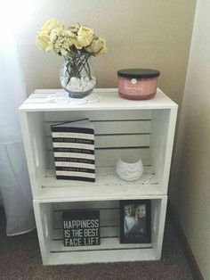 Wood crate nightstand, country style, white washed, end tables, College dorm room end tables - Wood Crates Shipping Crate Nightstand, Nightstand Ideas, Bedside Tables, Rustic Nightstand, Bedside Table Ideas Diy, Rustic Bed, Diy Bett, Deco Studio, Diy Casa
