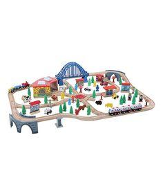 Loving this 120-Piece Wooden Train Set on #zulily! #zulilyfinds
