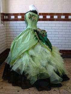 Green Steampunk faerie ball gown