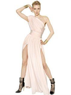 Balmain Viscose Jersey Rhinestones Long Dress on shopstyle.com