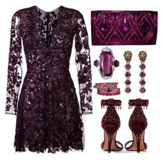 Purple Beads by carolineas on Polyvore featuring polyvore, fashion, style, Zuhair Murad, Givenchy, Balmain, FerrariFirenze, Gucci and clothing