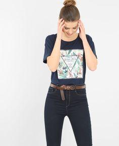 T-shirt met ingeweven motief marineblauw