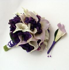 Calla Lily Wedding Bouquet | Wedding Bridal Bouquet Real Touch Calla Lily Hydrangea Bridal Bouquet ... Love the colours and shape.