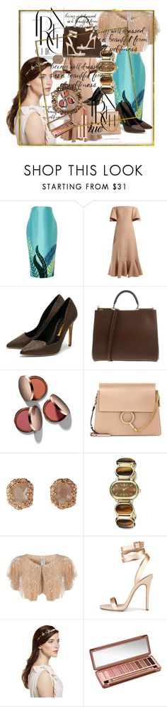 """""""Untitled #127"""" by pesanjsp ❤ liked on Polyvore featuring Valentino, Rupert Sanderson, Dolce&Gabbana, Nude by Nature, Chloé, Charles Hubert, Dorothy Perkins, Jennifer Behr, Urban Decay and Estée Lauder"""