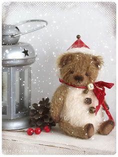 """Tiny bear Snowball Lushek By Anna Bratkova - Tiny bear Snowball Lushek in hat do you have christmas mood yet? I have))) Small """"bear in hand""""will bring it to you:) only 5,5 inch madeof mohair stuffed sawdust and mineral granulate paws of felt"""