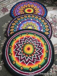 Коврик вязанный крючком - вязание и вышивка, плетение, дизайнерский ковер/гобелен для интерьера. МегаГрад - город мастеров и художников
