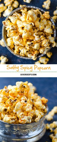 Salty Spicy Popcorn is a perfect savory snack to pair with your cold beer. Best stove-top popcorn method is included in the recipe. | giverecipe.com | #popcorn #superbowl