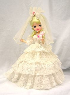 "Vintage 1970s 15"" Bradley Blonde Bride Doll in Lace, Satin and Roses Korea by MermeowTreasures, $45.00"